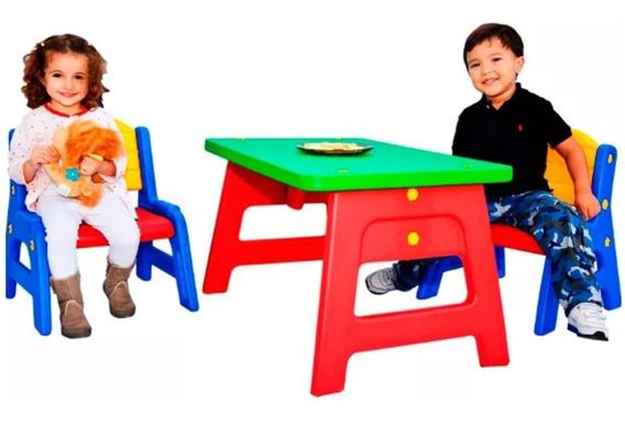 Mesa Mesita Infantil + 2 Sillas Interior Exterior Rodacross