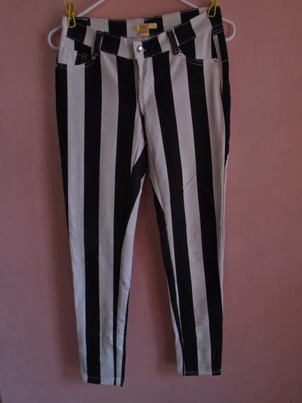 Pantalon A Rayas De Tela, Talla S, Blanco Y Negro, Usado