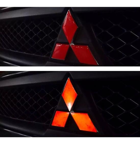 Kit Adesivos Logo Lancer Resinado Vermelho Refletivo 7 Peças