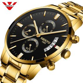 Relógio Nibosi Dourado Funcional