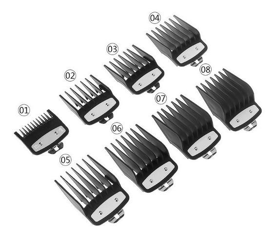 Kit 8 Pentes Metal Maquina Corte Cabelo P/ Wahl + Brinde