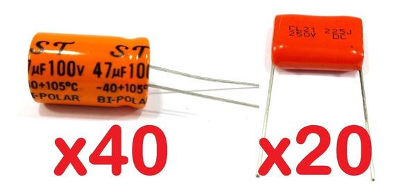 40 Capacitor Corneta 47x100 + 20 Cap. Super Tweeter 2m2x250