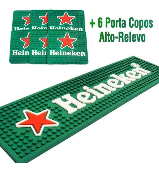 Bar Mat Tapete + 6 Descansos Copo Alto Relevo Heineken