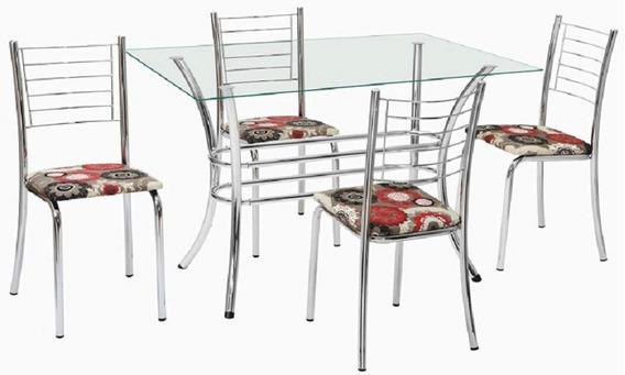 Conjunto De Mesa Retangular 120cm Com 04 Cadeiras Alice
