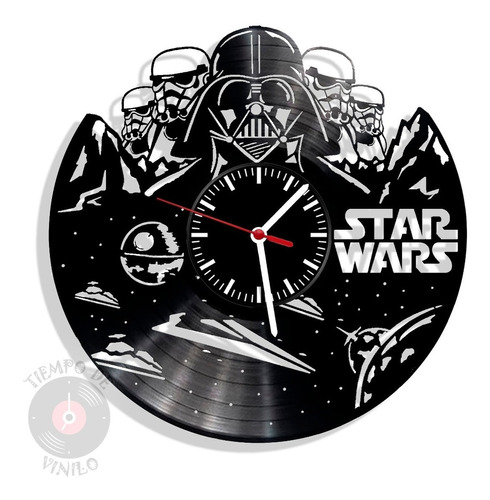 Reloj De Pared Elaborado En Disco Lp  Ref. Star Wars 01