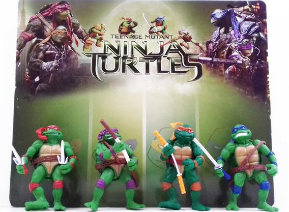 Kit 4 Bonecos Tartarugas Ninjas 12cm Promoção