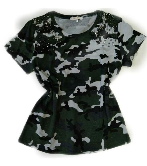 Blusinha T-shirt Spike Militar Camuflada Roupa Feminina
