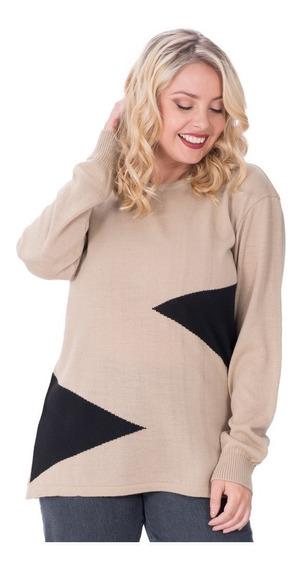 Sweater Portofem C/triángulos En Laterales. Talles Grandes