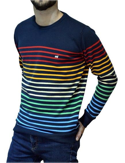 Sweater Cuello Redondo Rayado Algodon Mistral Hombre 14803