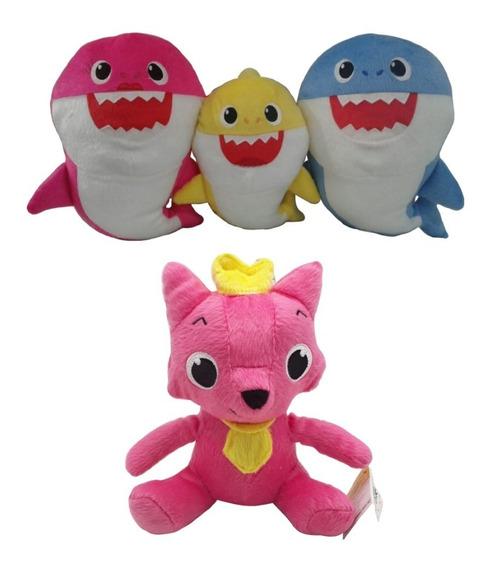 4 Pelúcias Baby Shark Bebê Mamãe Papai E Pinkfong Raposa