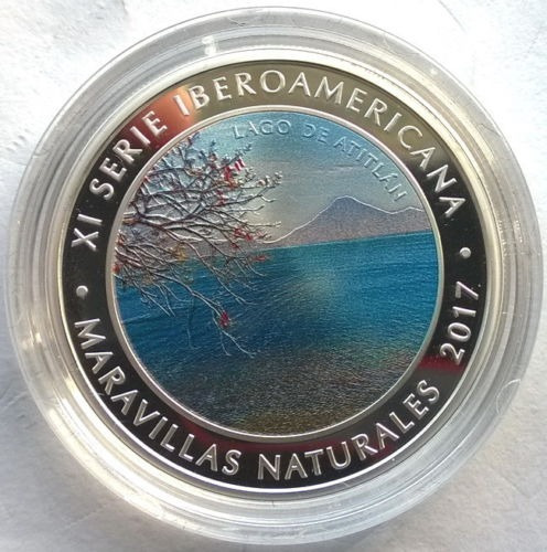 Guatemala Moneda Plata 1 Quetzal Ibero 2017 Lago De Atican