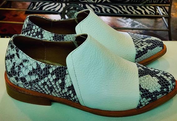 Zapato Reptil Blanco Y Negro