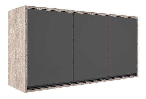 Aéreo Móveis Sul 4662 Ibiza 3 Portas Com Vidro Pérola