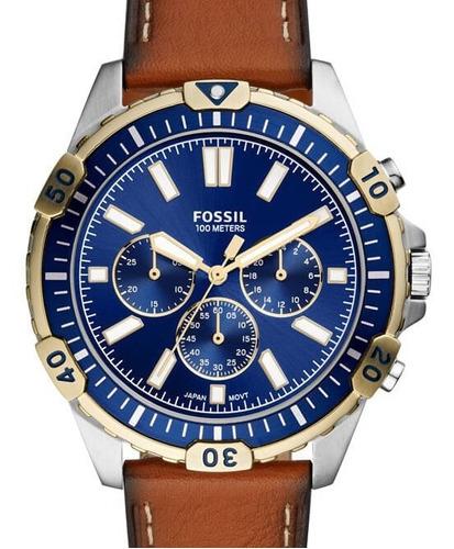 Relogio Fossil Masculino Couro Mostrador Azul Fs5625/0kn
