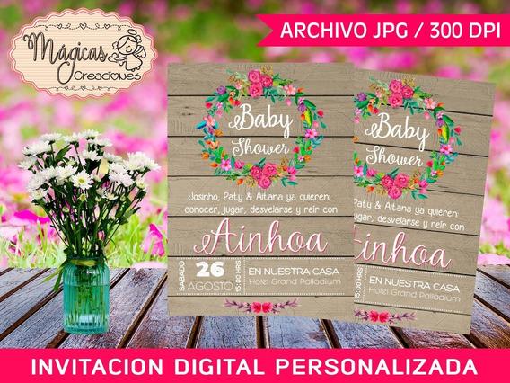 Invitación Digital Baby Shower Niñas Corona Flores