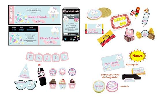 Kit Imprimible Lluvia De Amor Corazones: Candy, Deco, Torta