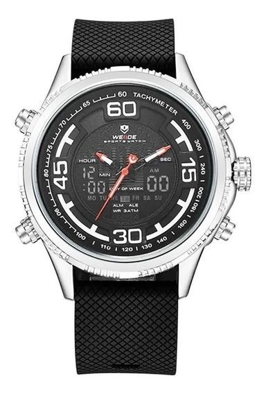 Relógio Analogico Digital Masculino Weide Wh6306 Preto Prata