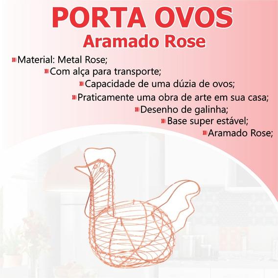 Porta Ovos Aramado Rose Cozinha Cesta Retrô Praticidade