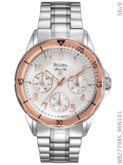 Relógio Bulova Feminino Prata E Rosé Wb27798s