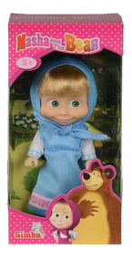 Boneca Masha Cores Roupinha Azul Masha E O Urso Simba
