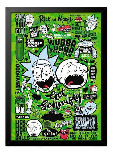 Imagem 1 de 1 de Quadro Poster Rick And Morty Referências 33x23cm