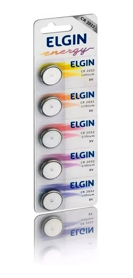 Cartela Com 5 Baterias Cr2032 3v Elgin Energy Computador
