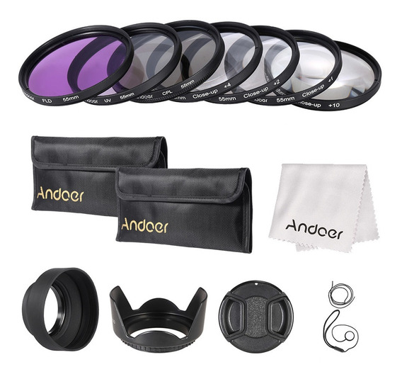 Andoer 55mm Uv + Cpl + Fld Close-up(+1+2+4+10) Lente Filtro