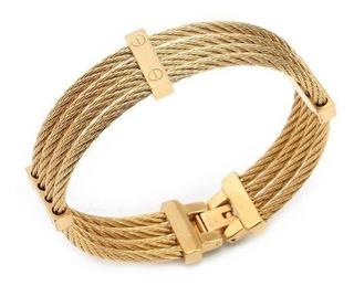 Pulseira Bracelete Feminina Aço Inoxidável 316l Banhado Ouro