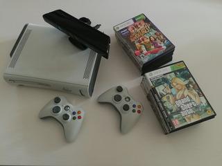 Xbox 360 Elite + 2 Joysticks + Kinect + Fuente 110v + Juegos