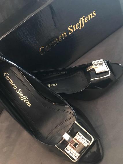 Sapato Marca Carmen Steffens 36 Preto Com Strass