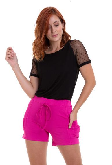 Shorts Malha Moletom Bolsos Pink Kinara