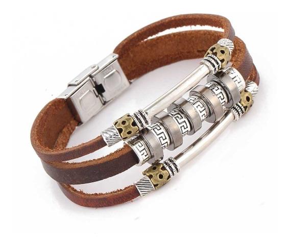 Bracelete Pulseira Couro Marrom Retrô Tribal