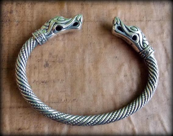 03) Pulseira Viking Torc Torque Jörmungandr - Prata Maciça