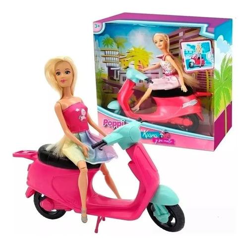 Muñeca Poppi Articulada Kiara Y Su Moto Juguetes Niña  30cm