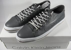 c19abb05445 Tênis Couro Calvin Klein Summer Sunset Legítimo Cinza Escuro