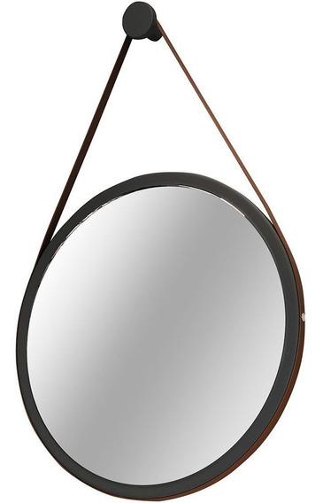 Espelho Redondo Decorativo Adnet Alça De Couro 67 Cm Nix