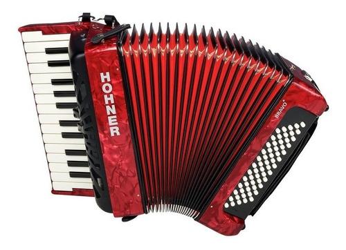 Acordeon A Piano Hohner 60 Bajos Bravo 2 Red 26 Teclas