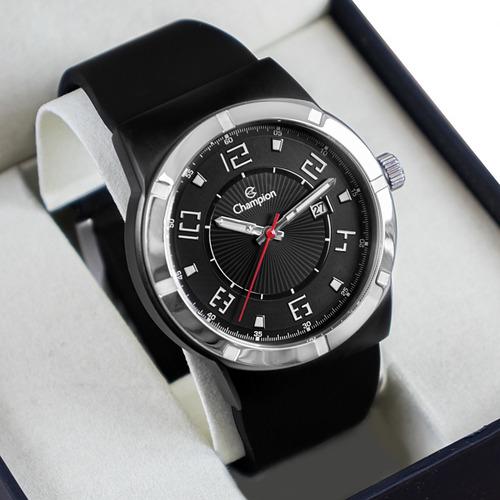 Imagem 1 de 8 de Relógio Champion Masculino Preto Analógico Ca31720p Silicone