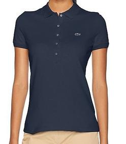 3211e040e38 Lacoste Nueva Azul Mujer Talla 2 Camisa De Polo De Piqué