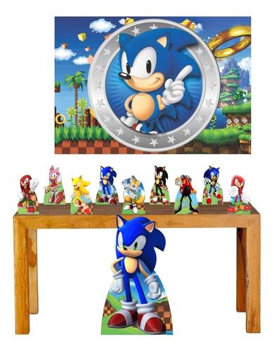 Imagem 1 de 6 de Super Kit Decoração Festa Totem Display Sonic Painel 100x70