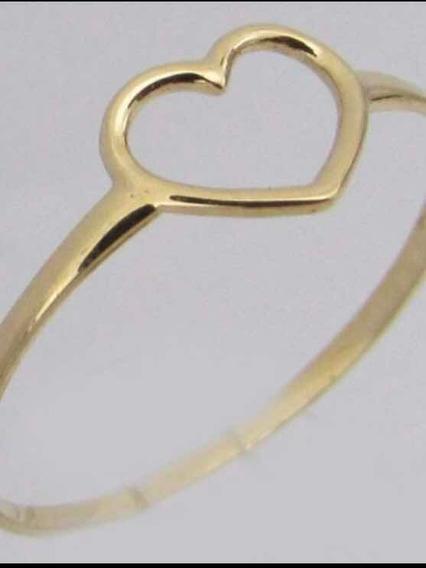 Anel Coração Em Ouro 18k Delicado