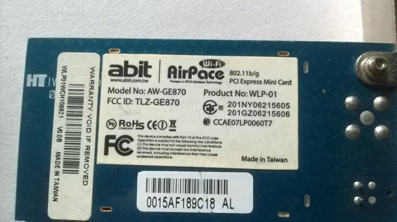 Tarjeta De Red Wifi Para Pc Abit-airpace Modelo Aw-ge870
