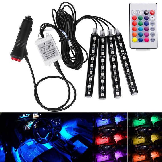 Led Neon Rgb Luz Interno C/ Controle -acessório Carro Tuning
