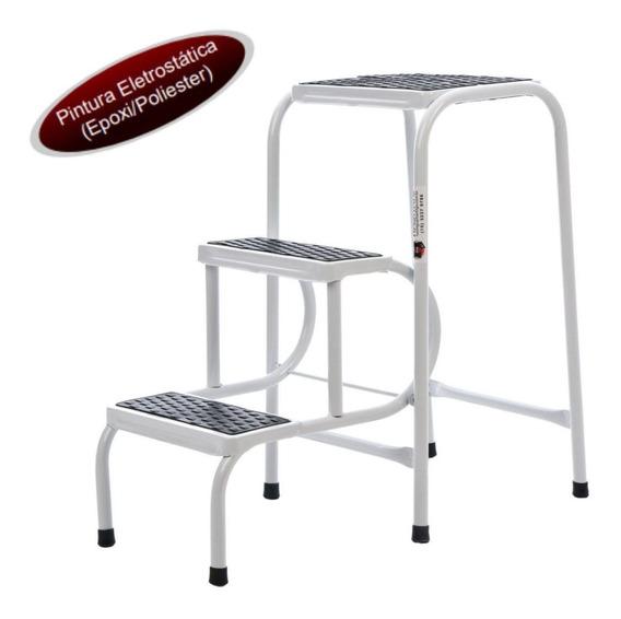 Banqueta Mini Escada Para Cozinha Em Aço Branca Ultra Resist