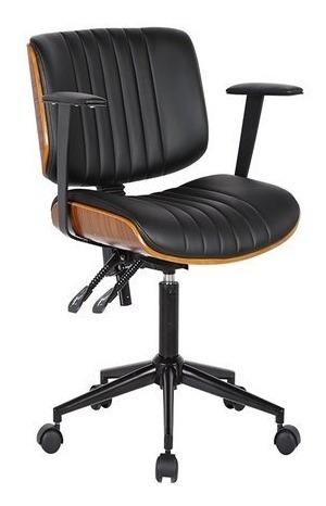 Cadeira Diretor Giratória Com Relax Madeira - Frete Grátis