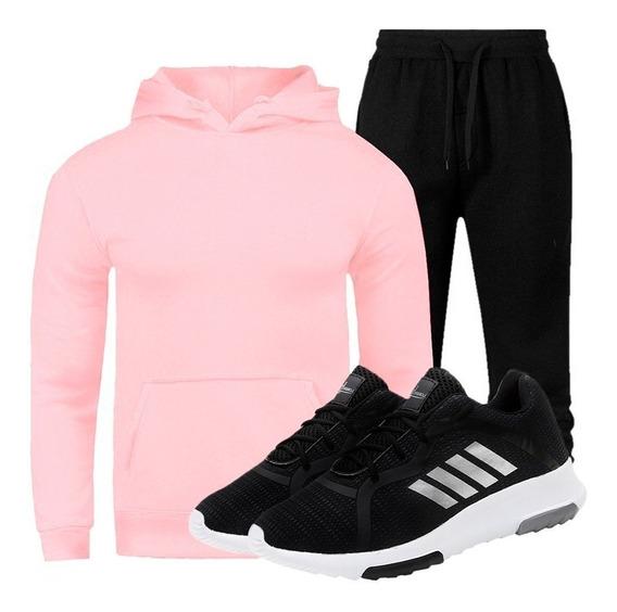 Conjunto Com Blusa Moletom + Calça Masculina + Tenis Preto