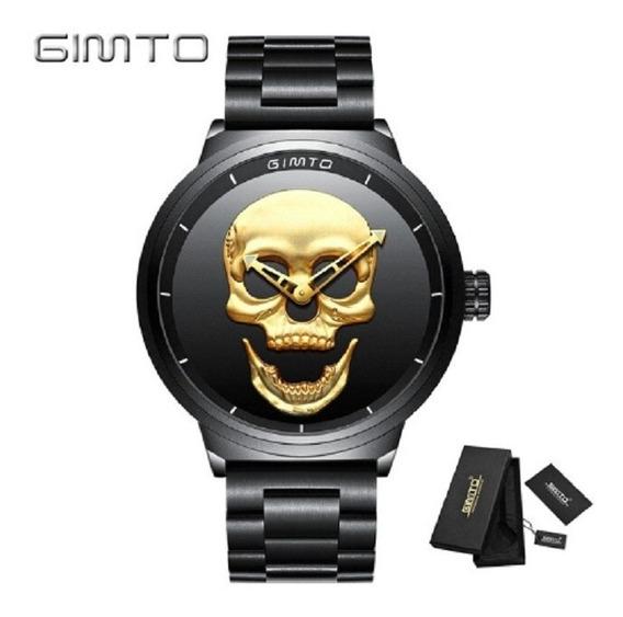 Relógio Estiloso Com Cranio 3d Gimto Grande E Bonito
