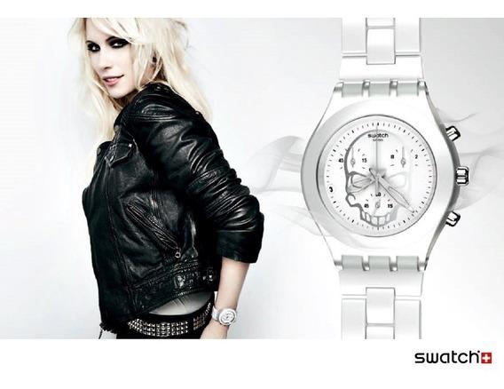 Relógio Feminino Swatch Irony Skull Original Branco Prata