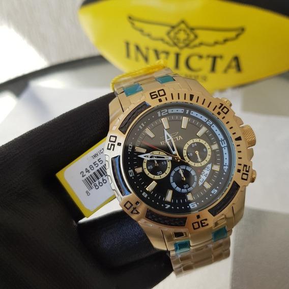 Relógio Invicta Pro Diver 24855 Banho Ouro 18k Original