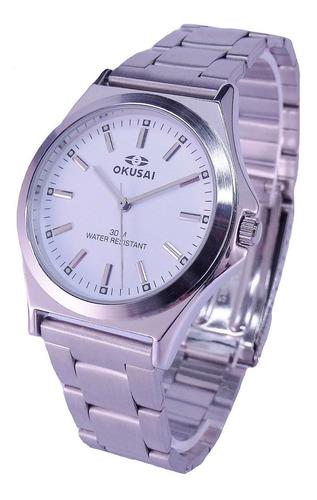 Reloj Okusai Steel Hombre Wr 30m Acero 100% Garantía Oficial